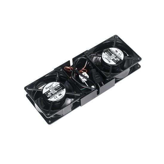 Wall Cabinet Fan Tray with 2 Fan kit - Black